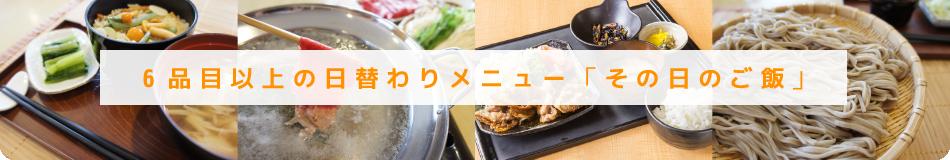 6品目以上の日替わりメニュー「その日のご飯」